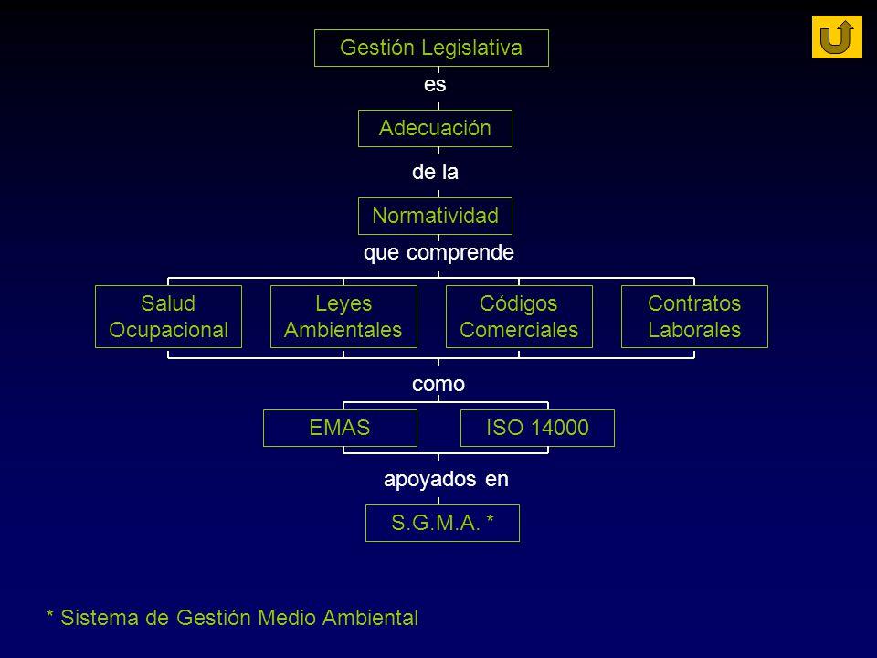 Gestión Legislativa es. Adecuación. de la. Normatividad. que comprende. Salud Ocupacional. Leyes Ambientales.
