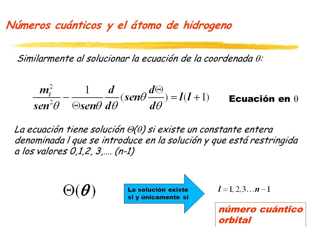 Números cuánticos y el átomo de hidrogeno
