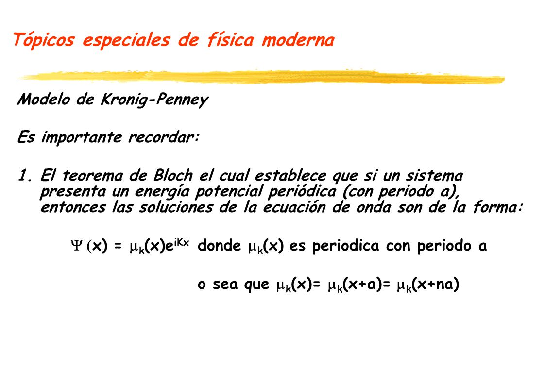 Tópicos especiales de física moderna