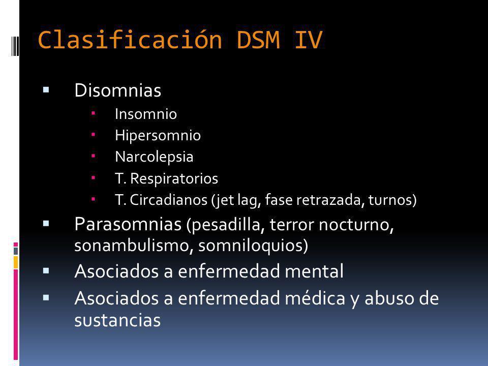 Clasificación DSM IV Disomnias