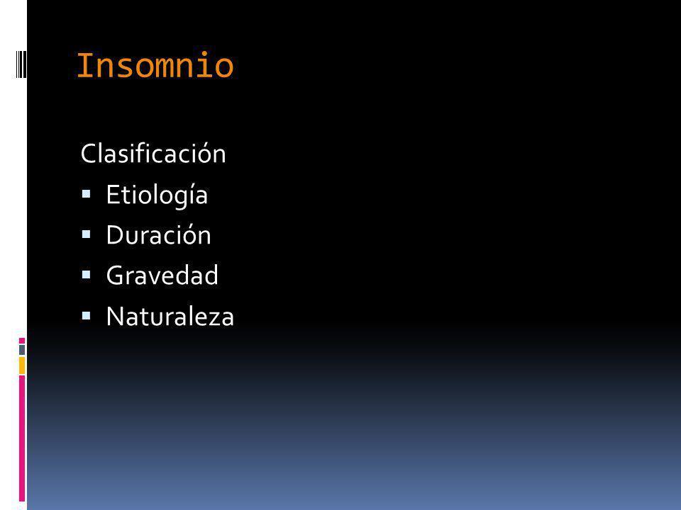 Insomnio Clasificación Etiología Duración Gravedad Naturaleza