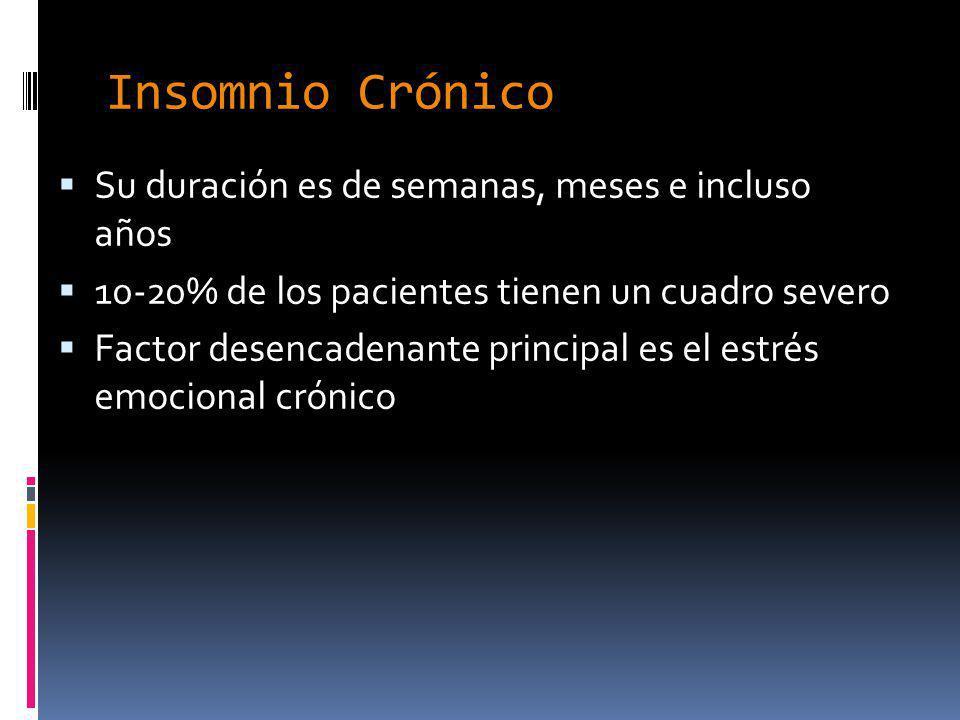 Insomnio Crónico Su duración es de semanas, meses e incluso años