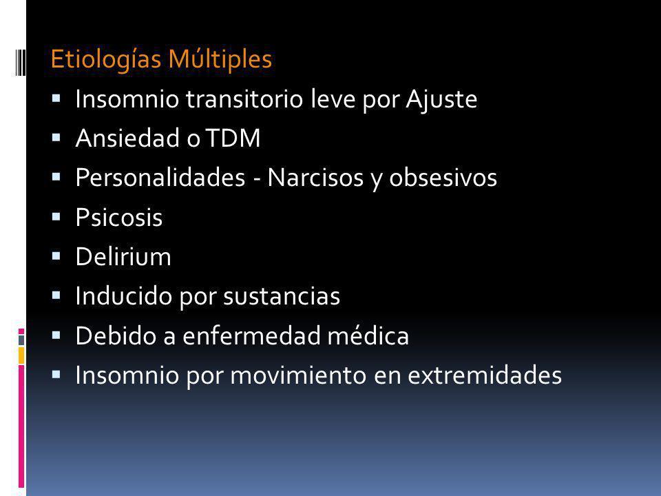 Etiologías Múltiples Insomnio transitorio leve por Ajuste. Ansiedad o TDM. Personalidades - Narcisos y obsesivos.