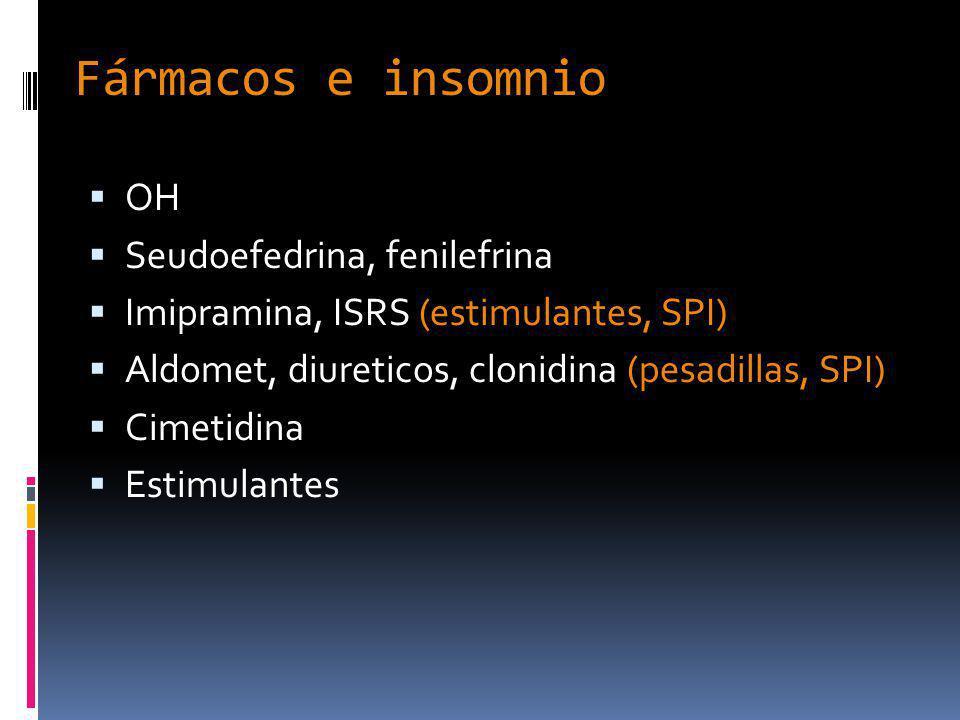 Fármacos e insomnio OH Seudoefedrina, fenilefrina