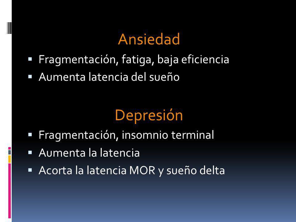 Ansiedad Depresión Fragmentación, fatiga, baja eficiencia