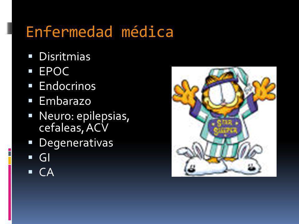 Enfermedad médica Disritmias EPOC Endocrinos Embarazo