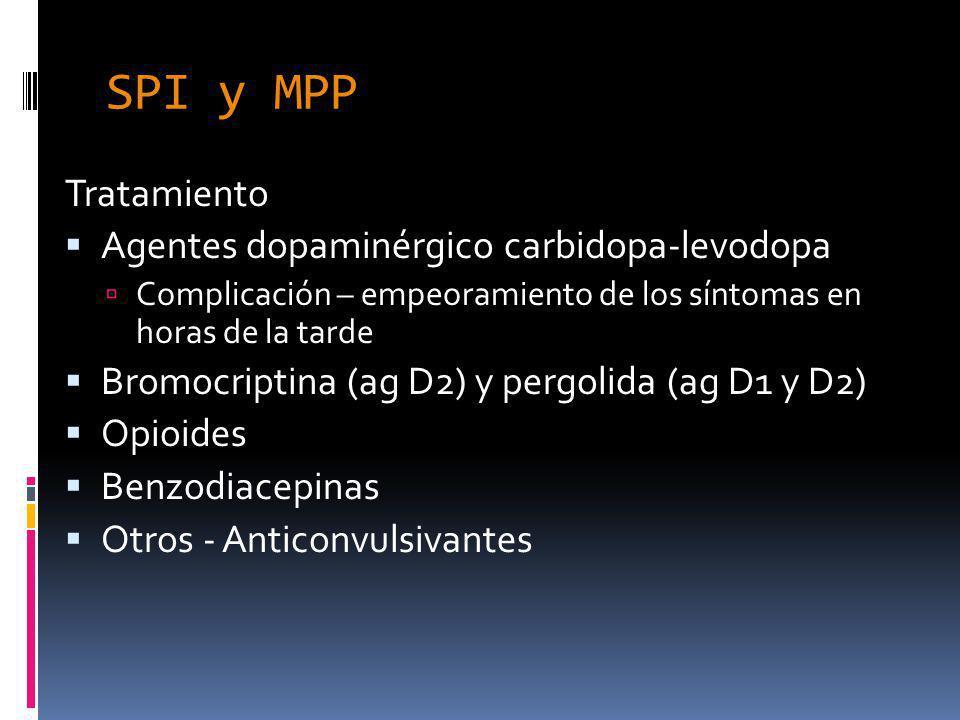 SPI y MPP Tratamiento Agentes dopaminérgico carbidopa-levodopa