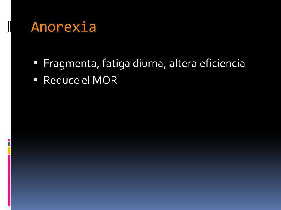 Anorexia Fragmenta, fatiga diurna, altera eficiencia Reduce el MOR