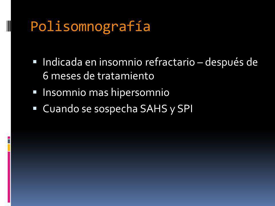 Polisomnografía Indicada en insomnio refractario – después de 6 meses de tratamiento. Insomnio mas hipersomnio.