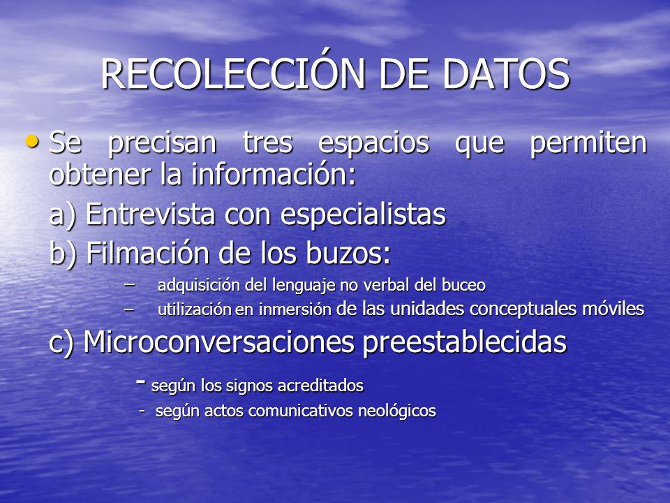 RECOLECCIÓN DE DATOS Se precisan tres espacios que permiten obtener la información: a) Entrevista con especialistas.