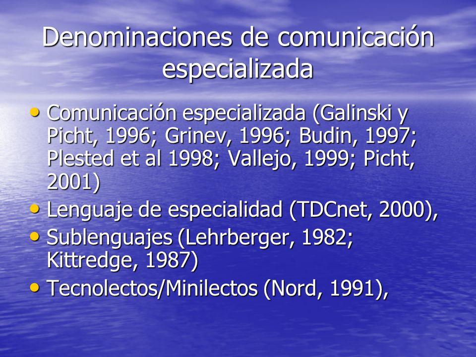 Denominaciones de comunicación especializada