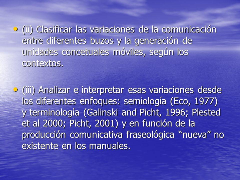 (ii) Clasificar las variaciones de la comunicación entre diferentes buzos y la generación de unidades concetuales móviles, según los contextos.