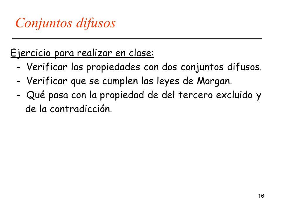 Conjuntos difusos Ejercicio para realizar en clase: