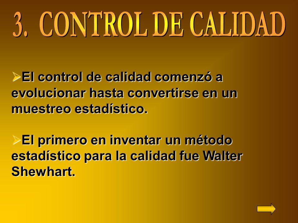 3. CONTROL DE CALIDAD El control de calidad comenzó a evolucionar hasta convertirse en un muestreo estadístico.