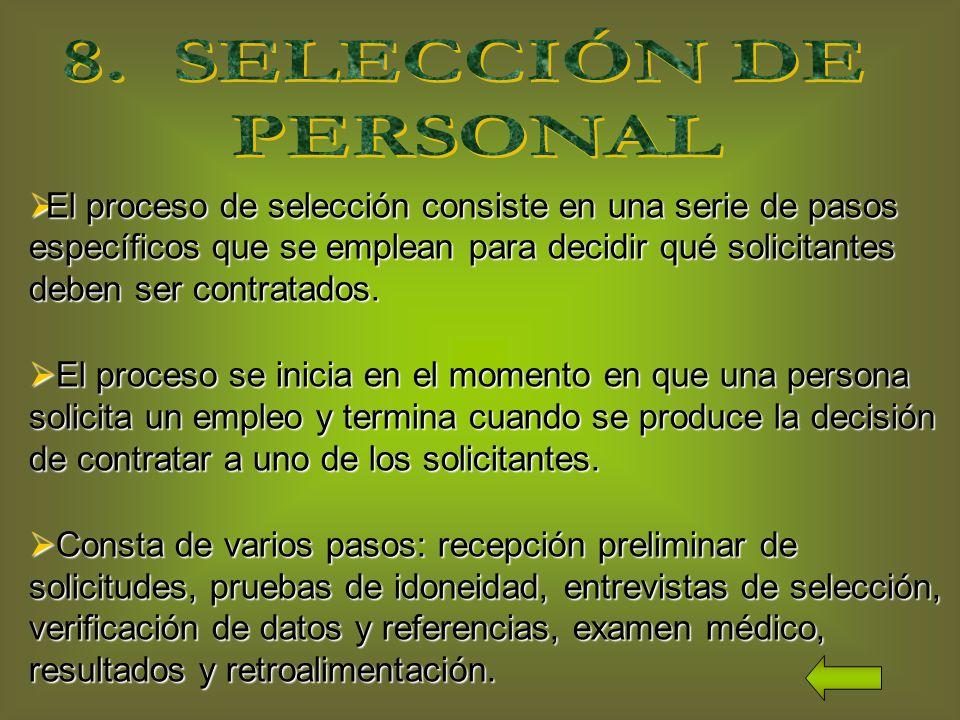 8. SELECCIÓN DE PERSONAL.