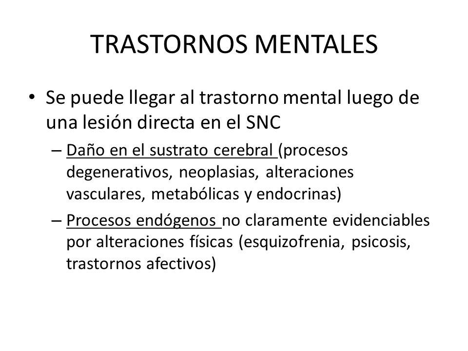 TRASTORNOS MENTALES Se puede llegar al trastorno mental luego de una lesión directa en el SNC.