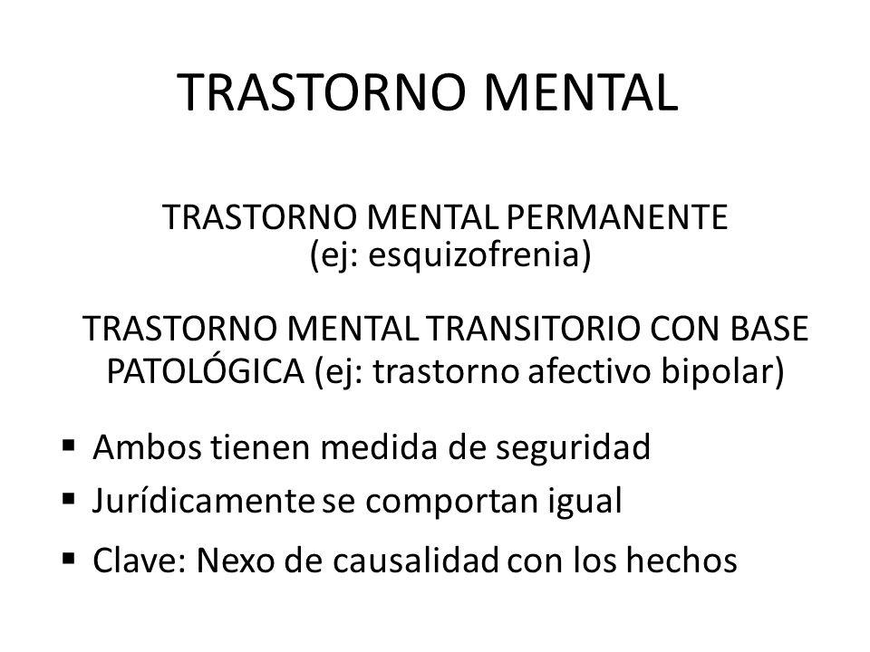 TRASTORNO MENTAL TRASTORNO MENTAL PERMANENTE (ej: esquizofrenia)