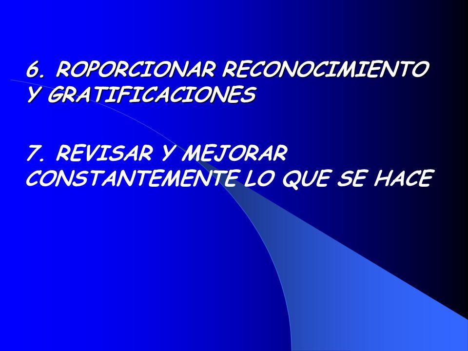 6. ROPORCIONAR RECONOCIMIENTO Y GRATIFICACIONES