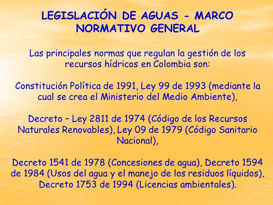 LEGISLACIÓN DE AGUAS - MARCO NORMATIVO GENERAL
