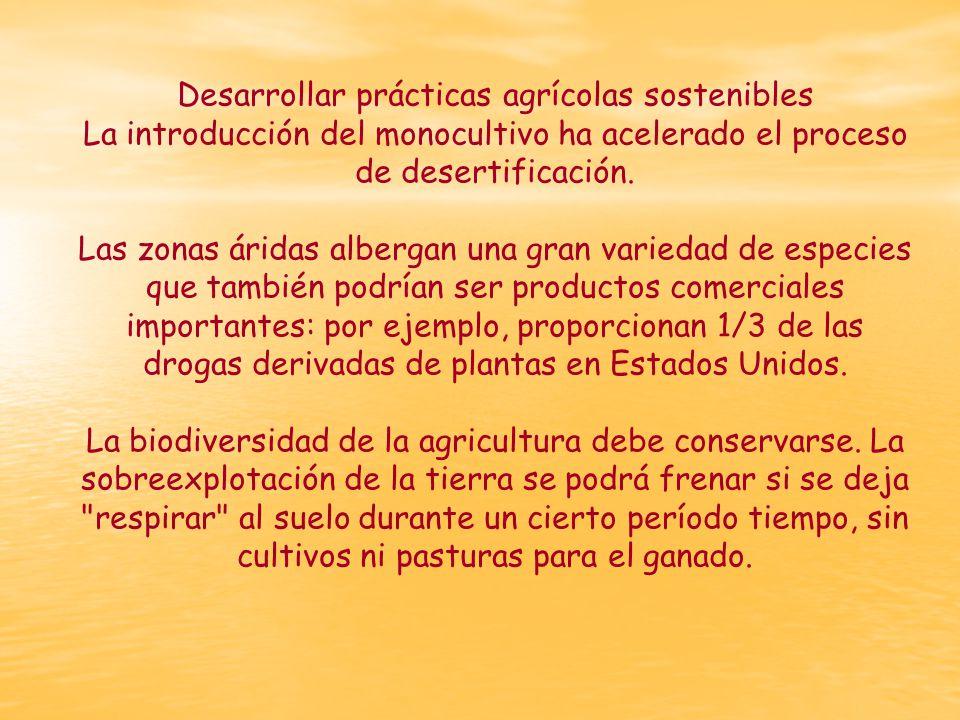 Desarrollar prácticas agrícolas sostenibles La introducción del monocultivo ha acelerado el proceso de desertificación.