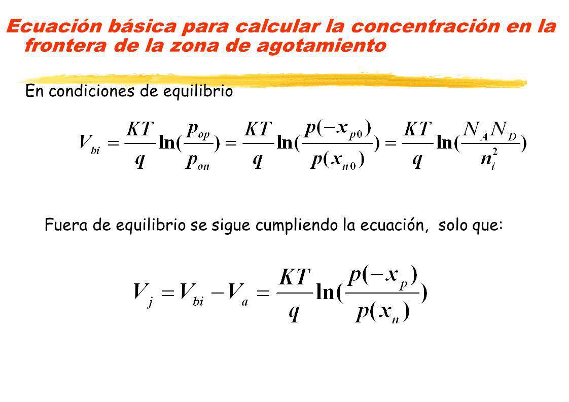 Ecuación básica para calcular la concentración en la frontera de la zona de agotamiento