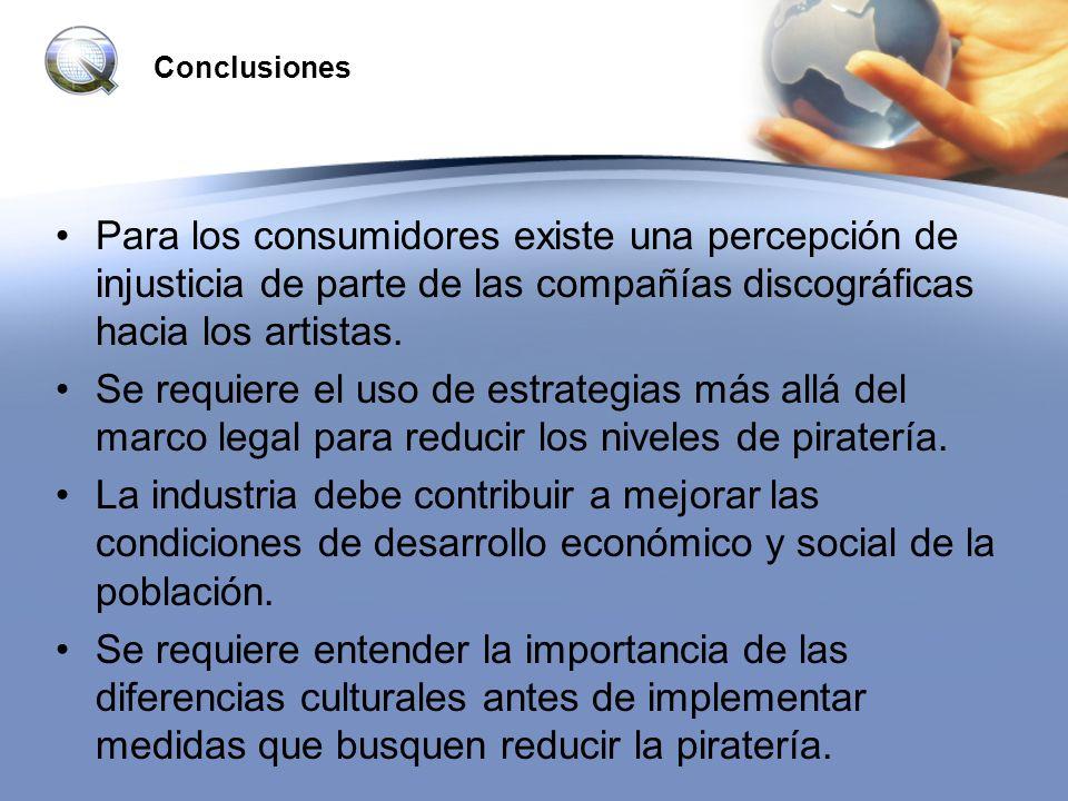 ConclusionesPara los consumidores existe una percepción de injusticia de parte de las compañías discográficas hacia los artistas.