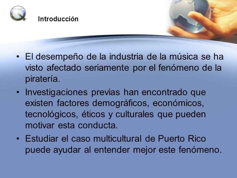 Introducción El desempeño de la industria de la música se ha visto afectado seriamente por el fenómeno de la piratería.