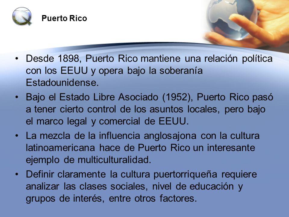 Puerto Rico Desde 1898, Puerto Rico mantiene una relación política con los EEUU y opera bajo la soberanía Estadounidense.