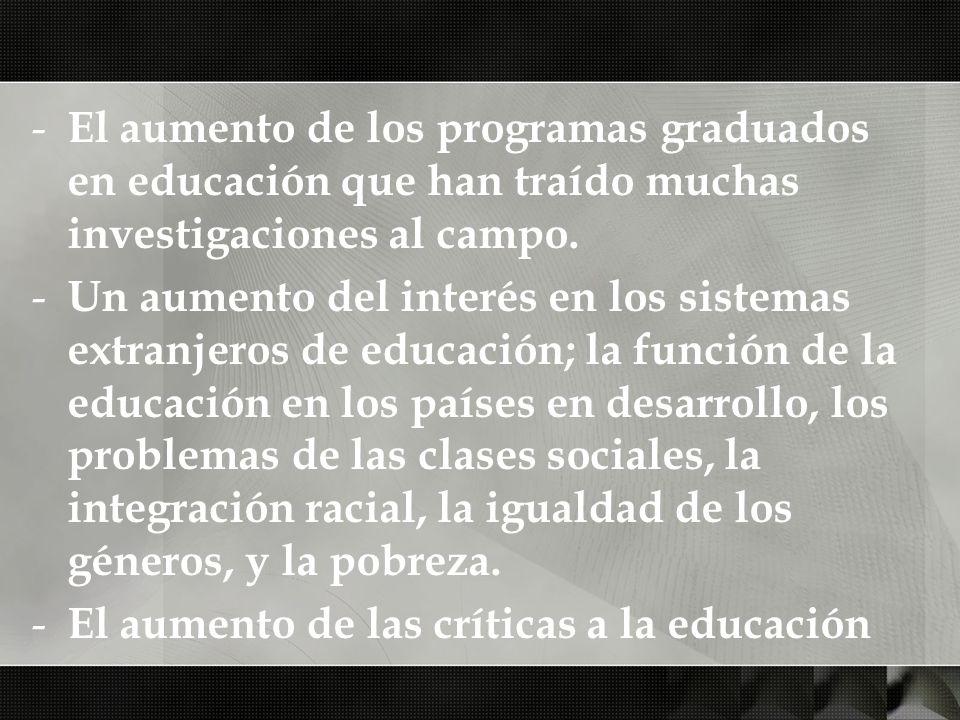 El aumento de los programas graduados en educación que han traído muchas investigaciones al campo.