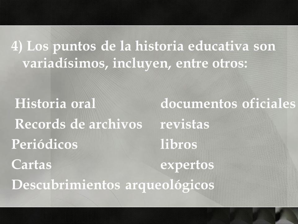 4) Los puntos de la historia educativa son variadísimos, incluyen, entre otros: