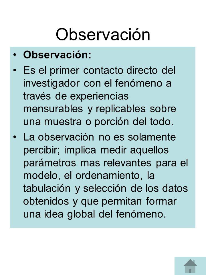 Observación Observación: