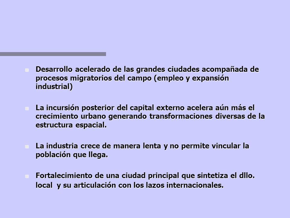 Desarrollo acelerado de las grandes ciudades acompañada de procesos migratorios del campo (empleo y expansión industrial)