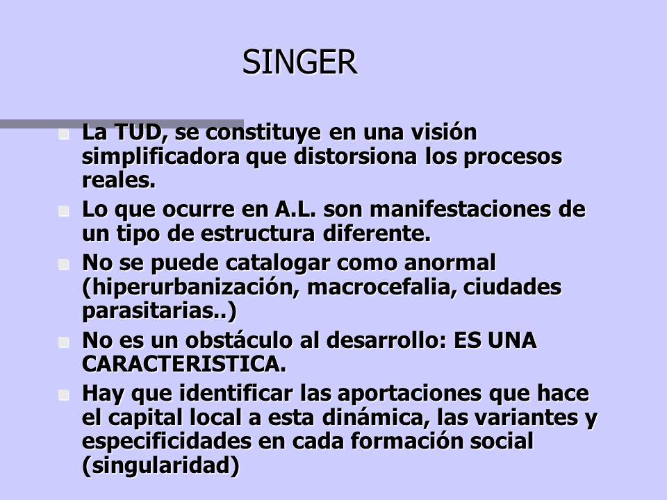 SINGER La TUD, se constituye en una visión simplificadora que distorsiona los procesos reales.