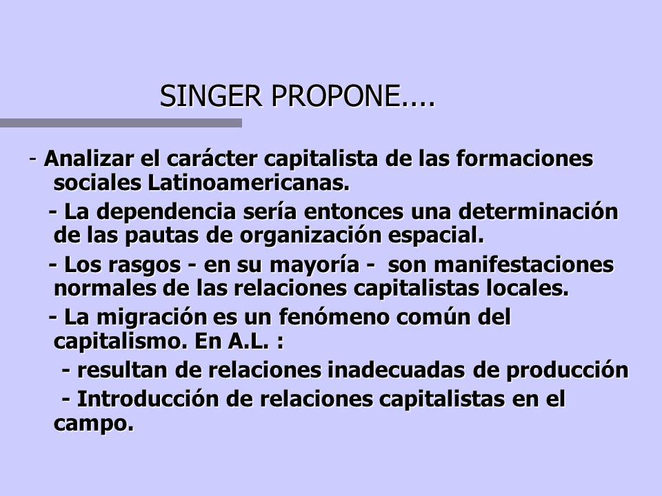 SINGER PROPONE.... - Analizar el carácter capitalista de las formaciones sociales Latinoamericanas.