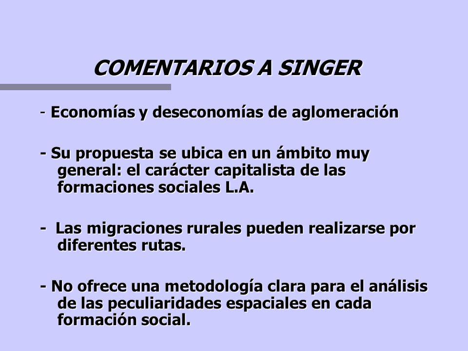 COMENTARIOS A SINGER - Economías y deseconomías de aglomeración