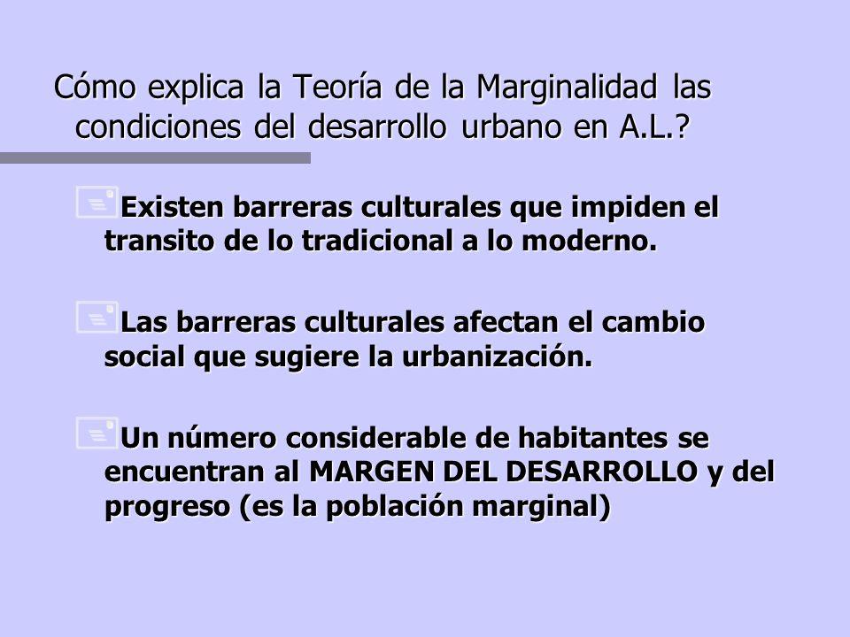 Cómo explica la Teoría de la Marginalidad las condiciones del desarrollo urbano en A.L.