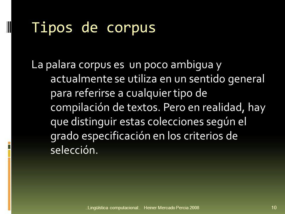 Tipos de corpus