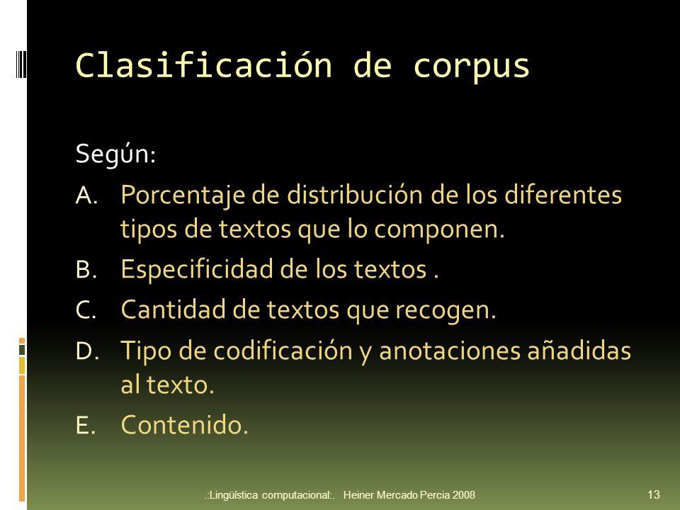 Clasificación de corpus