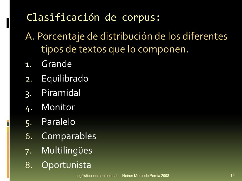 Clasificación de corpus: