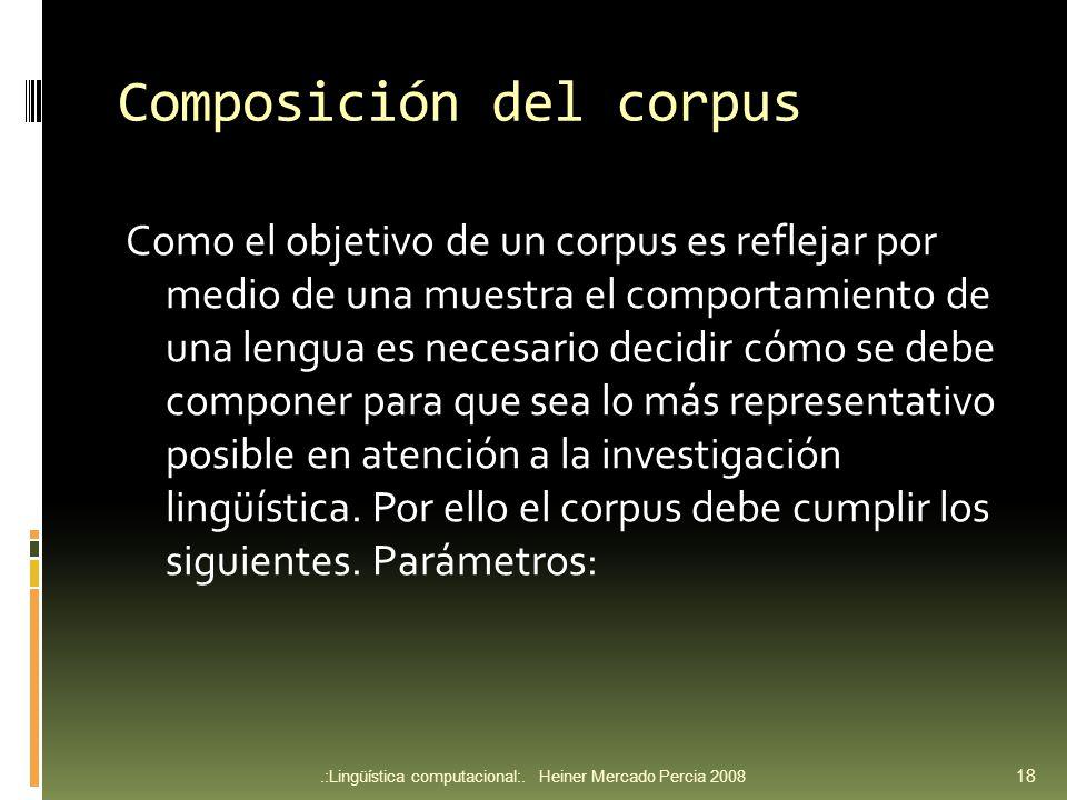 Composición del corpus