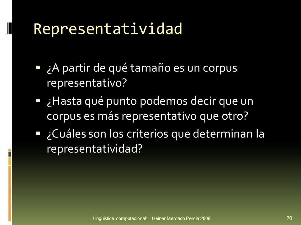 Representatividad ¿A partir de qué tamaño es un corpus representativo