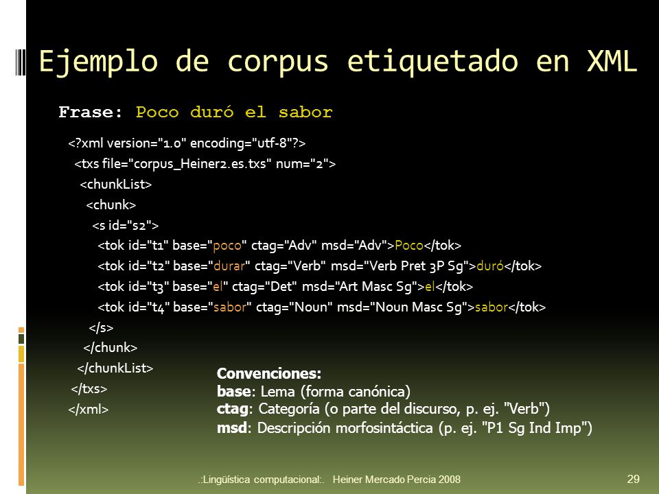Ejemplo de corpus etiquetado en XML