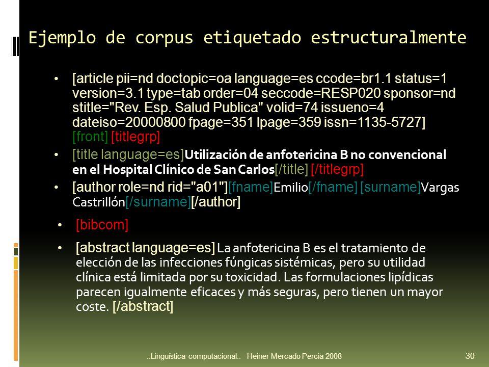 Ejemplo de corpus etiquetado estructuralmente
