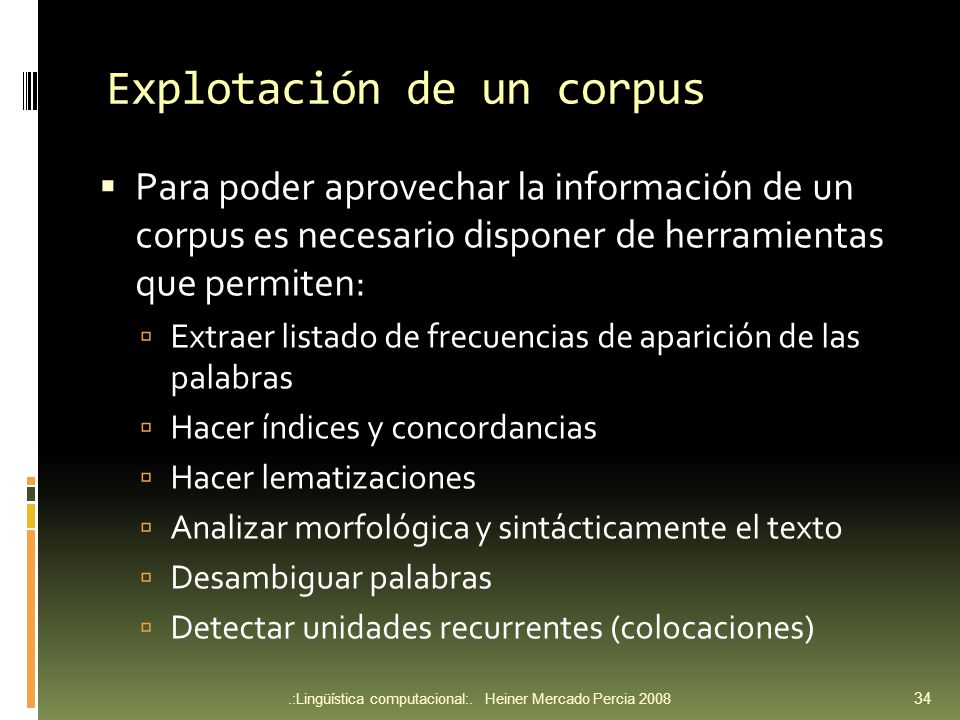 Explotación de un corpus