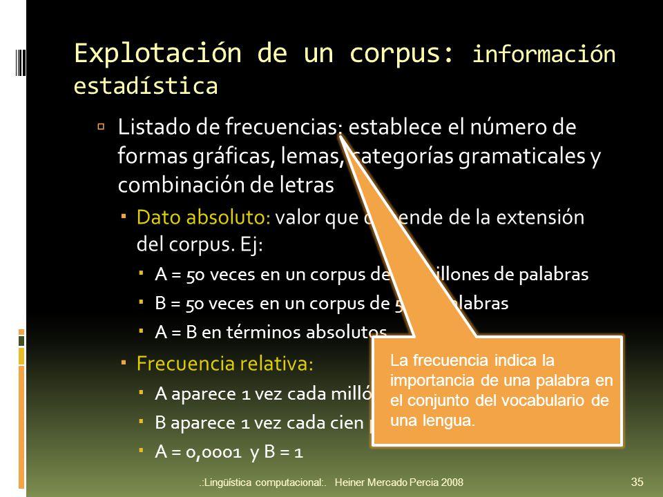 Explotación de un corpus: información estadística