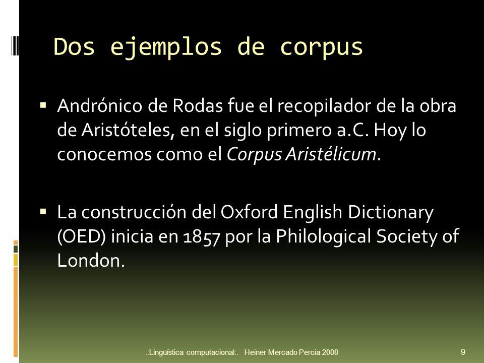 Dos ejemplos de corpus