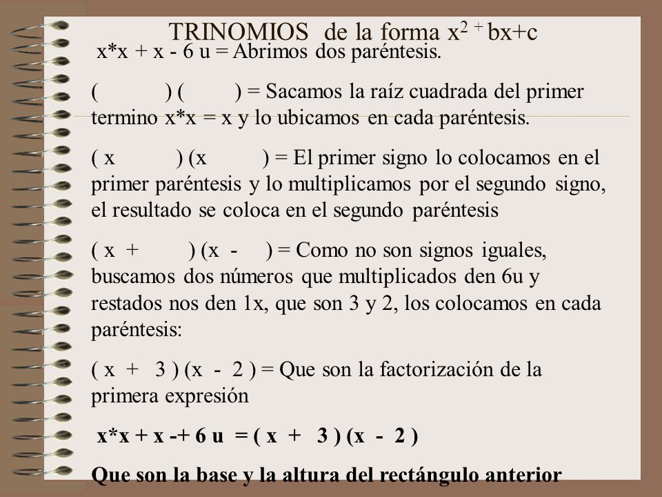 TRINOMIOS de la forma x2 + bx+c