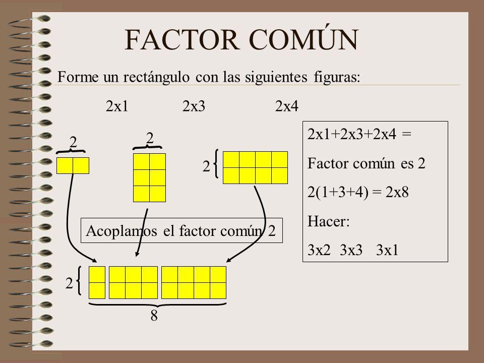 FACTOR COMÚN Forme un rectángulo con las siguientes figuras: