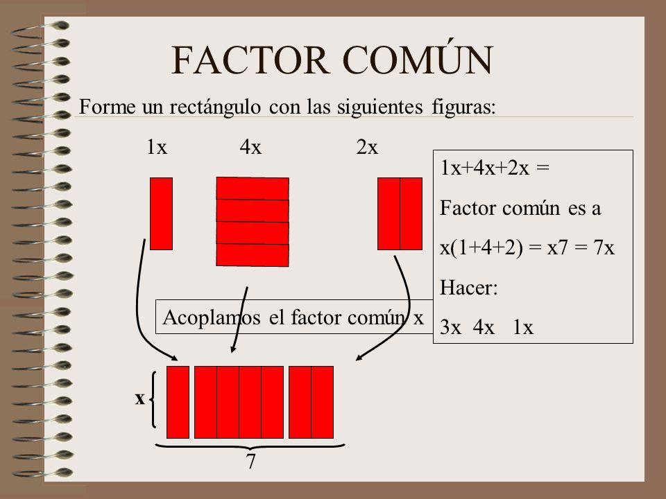 FACTOR COMÚN Forme un rectángulo con las siguientes figuras: 1x 4x 2x