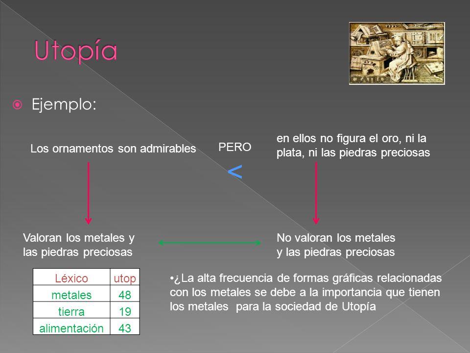 Utopía Ejemplo: en ellos no figura el oro, ni la plata, ni las piedras preciosas. Los ornamentos son admirables.